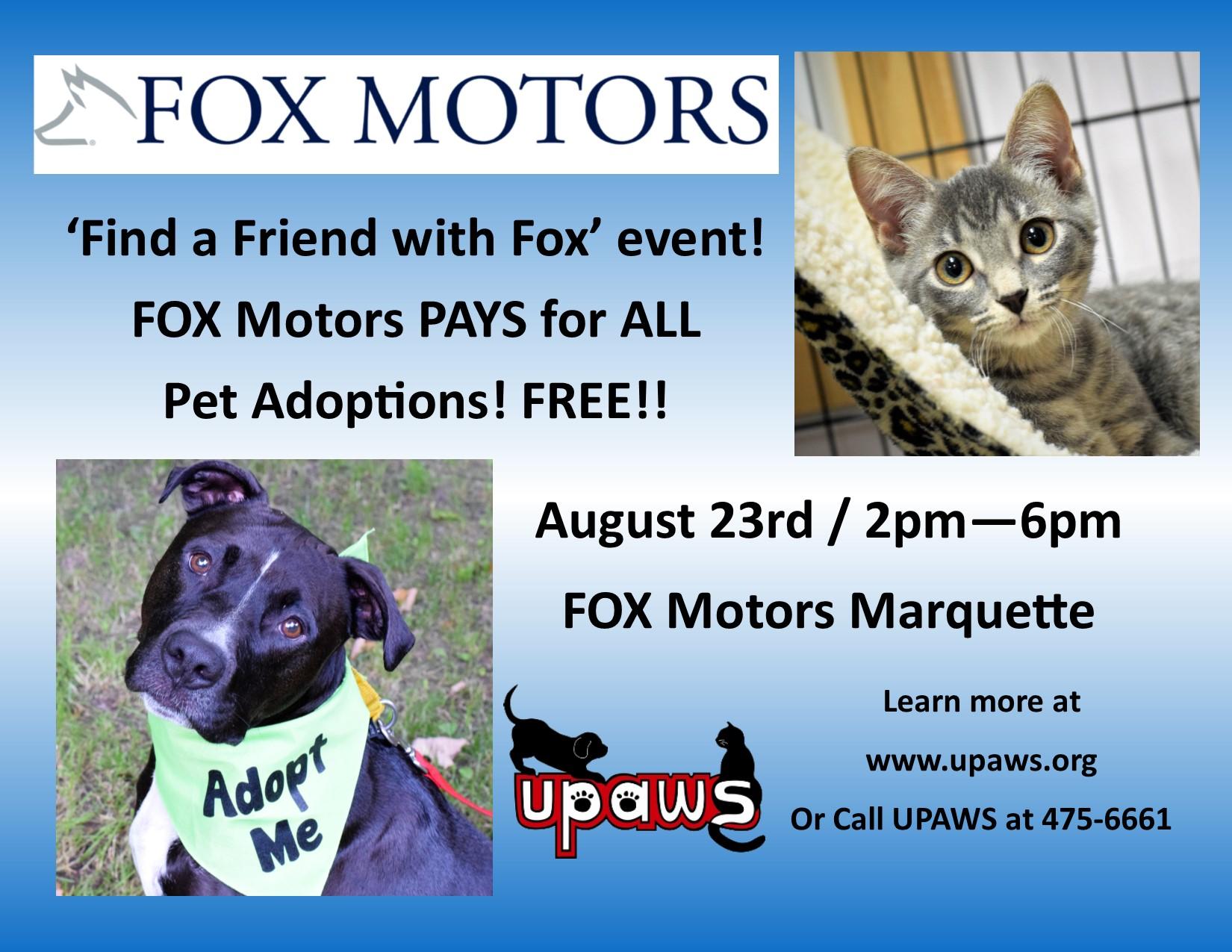 Find A Friend With Fox Adoption Event Upper Peninsula