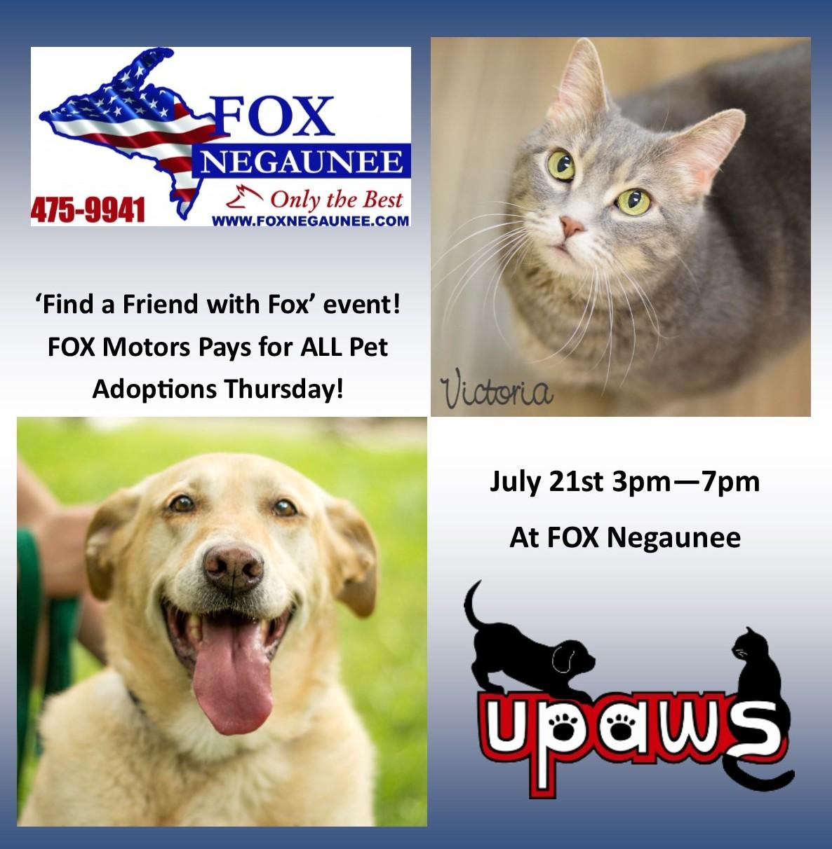 Fox Negaunee Pays For All Pet Adoptions Banner For Facebook Upper Peninsula Animal Welfare Shelter
